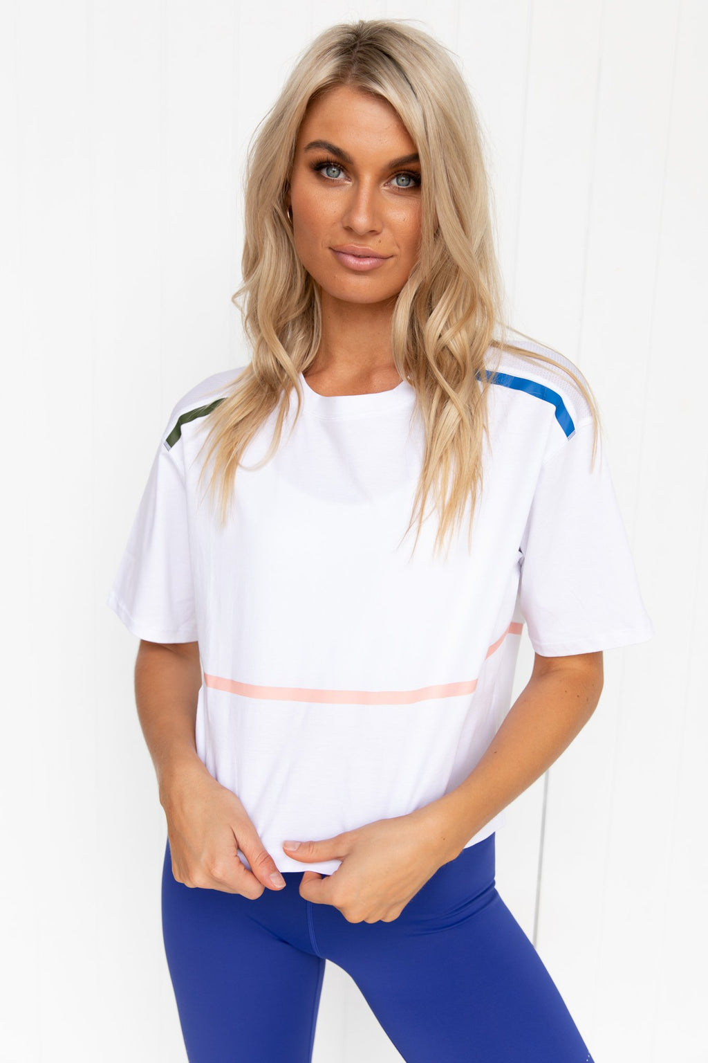 Yvette Bright White Crop Tech Tee - PURE DASH