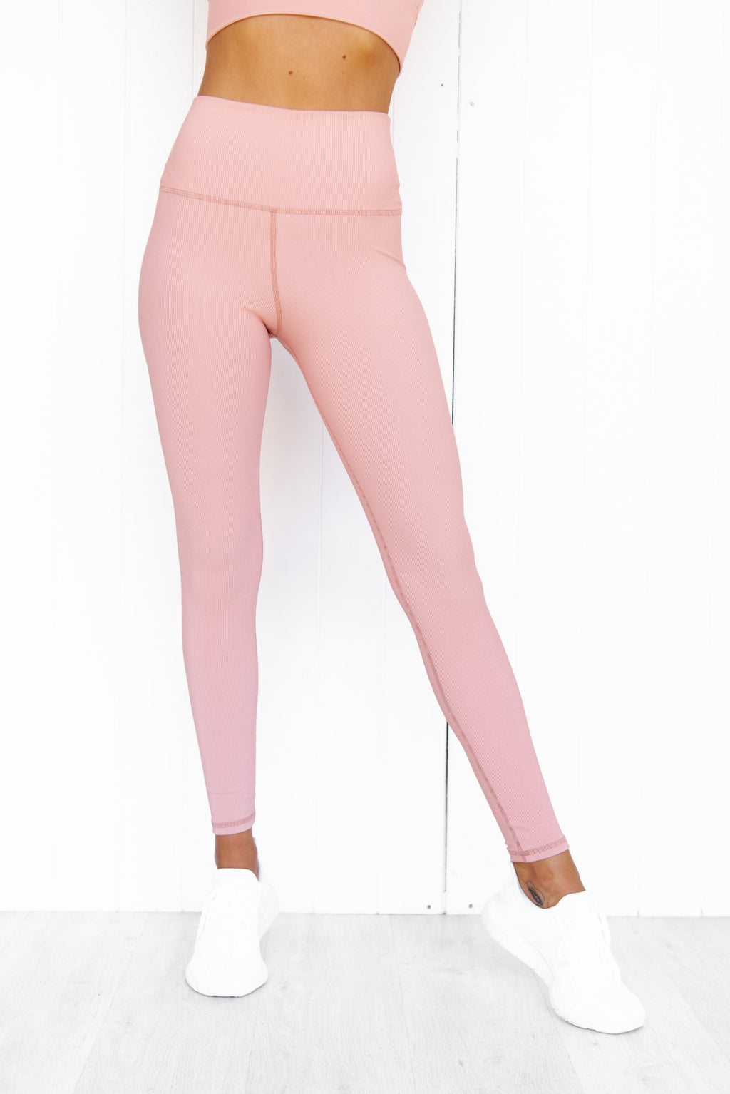 Ribbed High Waist Leggings - Pink - PURE DASH
