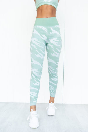 Seamless Tights - Sage Camo - PURE DASH