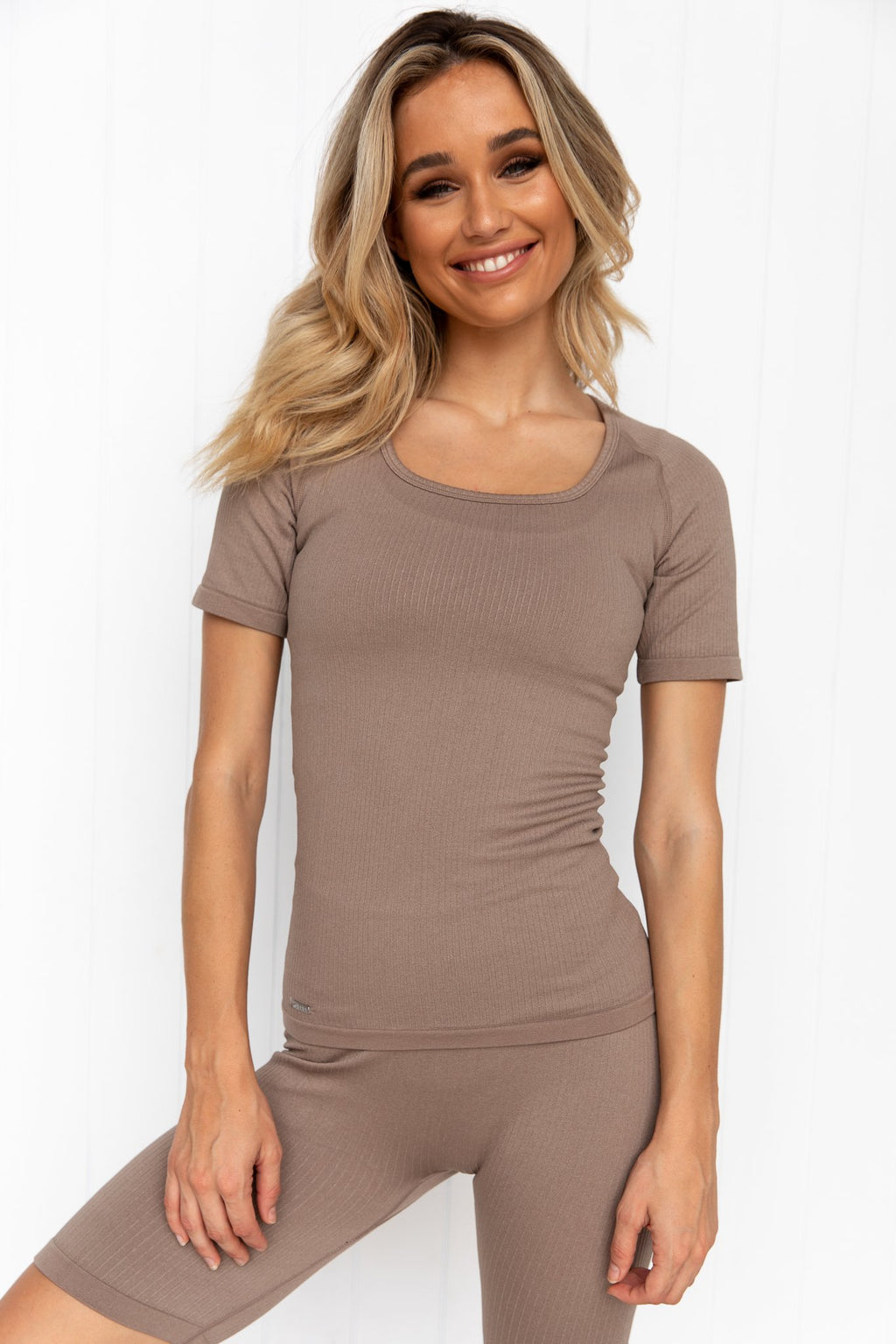 Espresso Ribbed Seamless T-Shirt - PURE DASH