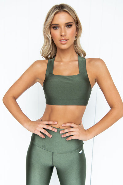 Crystal Perfect Form Crop Top - Hunter