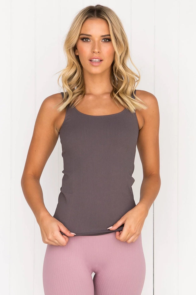 Concrete Ribbed Seamless Singlet
