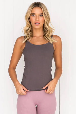 Concrete Ribbed Seamless Singlet - PURE DASH