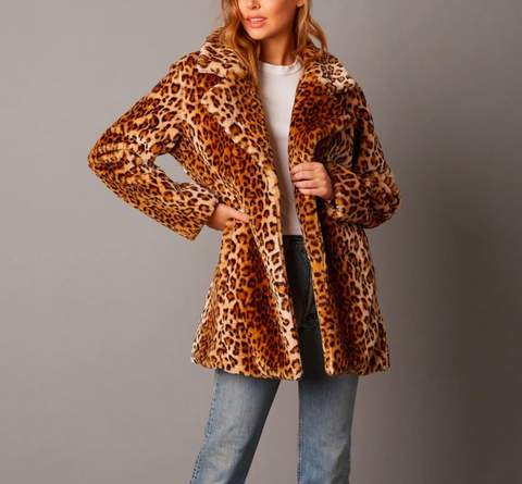 Selena - Open Collar Faux Fur coat - brown/leopard
