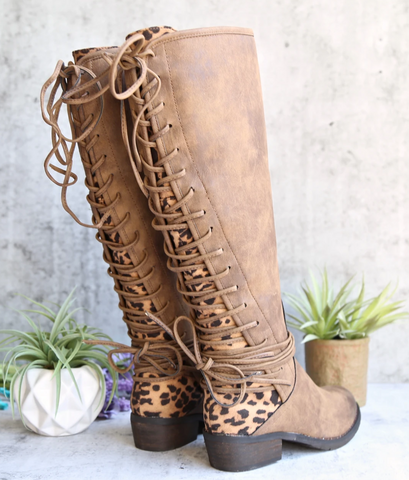 very volatile - marcel knee high corseted boot - tan/leopard