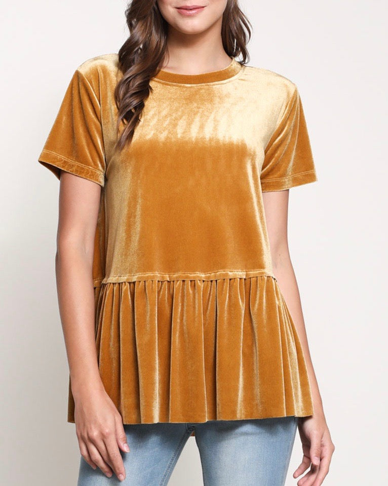 On the road peplum velvet tee - mustard
