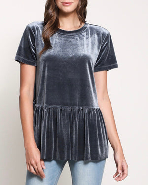 On The Road Peplum Velvet Tee in Teal