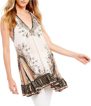 Free People - Steal the Sun Woven Printed Tunic Top in Cream Combo