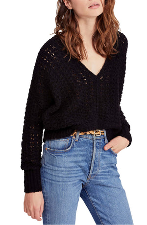 Free People Best Of You V Neck Sweater in Black