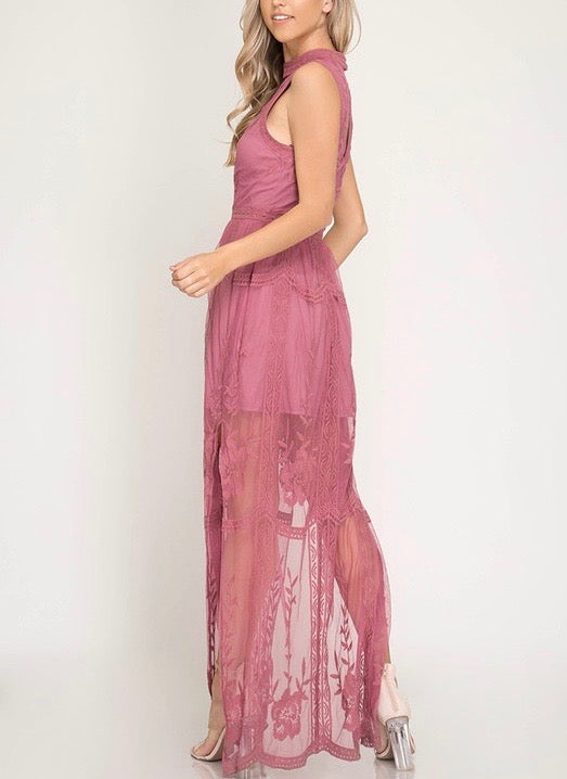 Girl Talk Sleeveless Mesh Lace Maxi Dress with Side Slit in More Colors