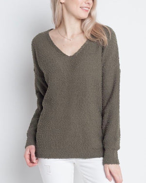 dreamers by debut - soft boulce yarn v-neck pullover - olive