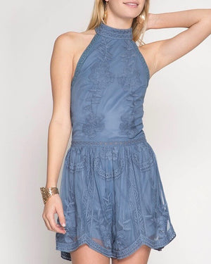 Sleepless & Sleeveless Halter Neck Mesh Lace Romper in Dusty Blue