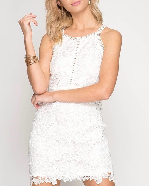 ashlyn - sleeveless lace bodycon dress - off white