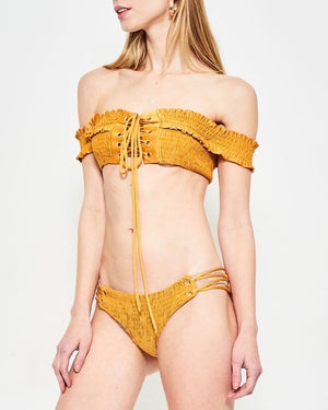 California Girl - Off The Shoulder Smocked Bikini Set - Mustard