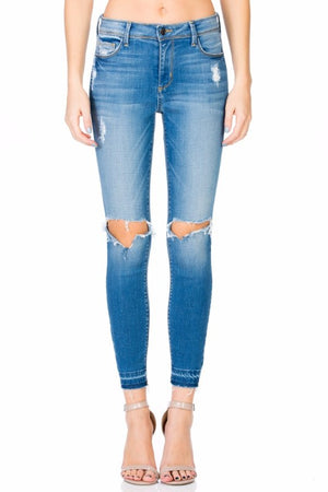 Final Sale - Cello - Mid Rise Crop Skinny with Knee Rips - Medium Wash