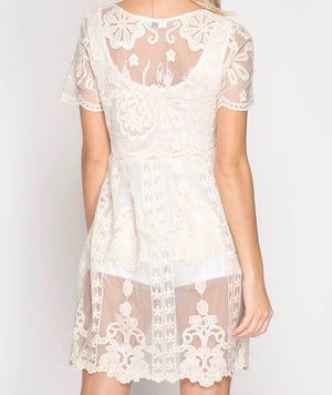 sheer short sleeve crochet lace dress - more colors