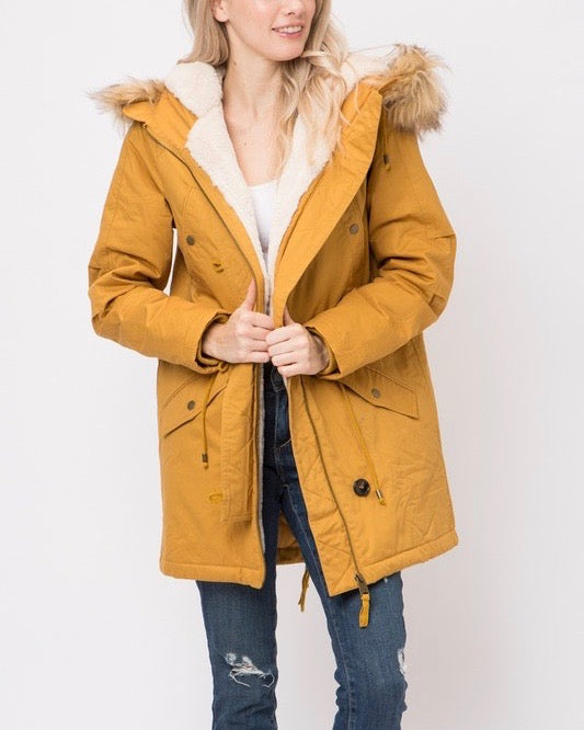faux sherpa lined hooded utility parka jacket - more colors