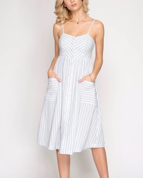 Uptown Button Down Striped Midi Dress in Blue