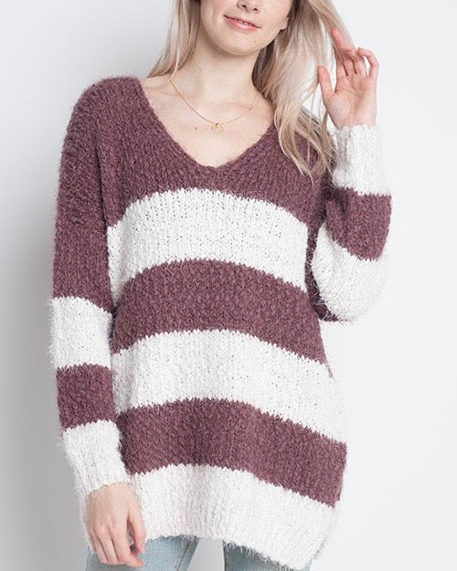 Dreamers - Striped Fuzzy Pullover in Dark Plum/Ivory