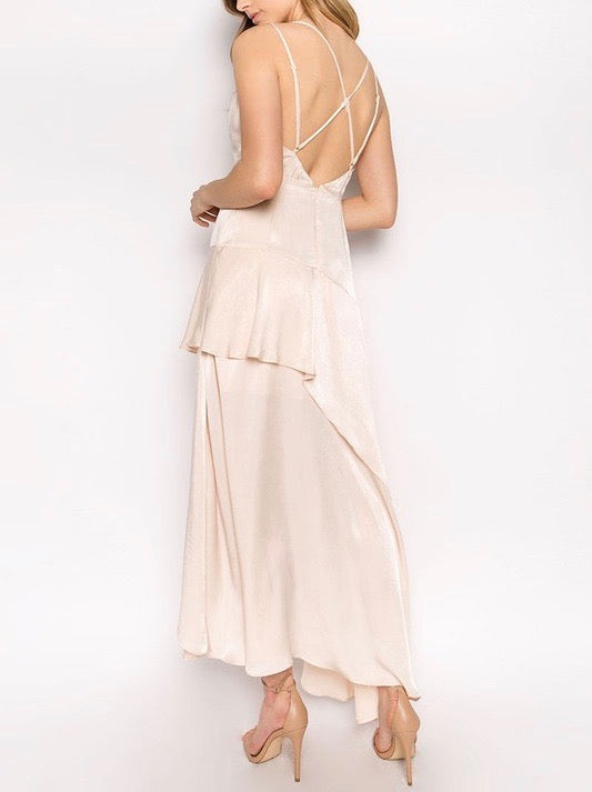 Final Sale - Olbia Asymmetric Maxi Dress in Washed Satin