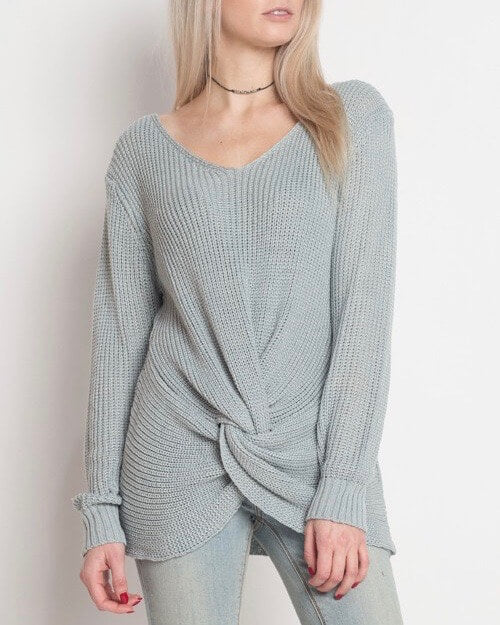Final Sale - Dreamers - Lightweight Knot Front Pullover in Blue