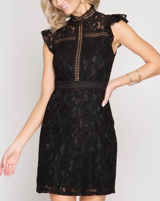 cherry on top - lace mock neck dress - black