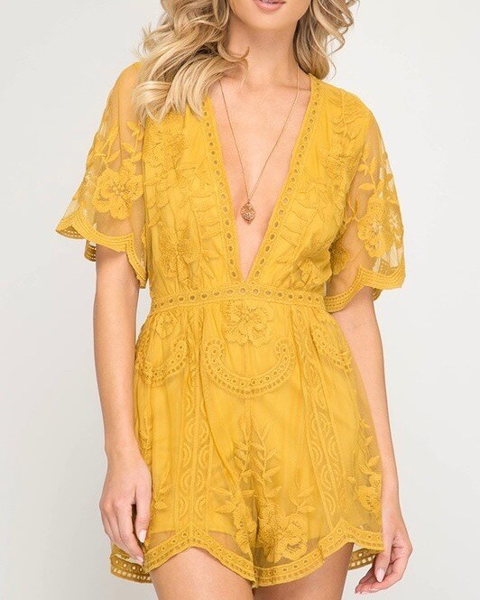 for what it's worth - lace romper - mustard