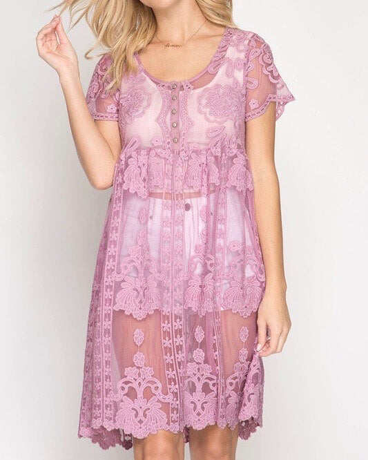 Sheer Short Sleeve Crochet Lace Dress in More Colors