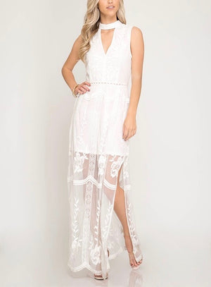 girl talk sleeveless mesh lace maxi dress with side slit - more colors