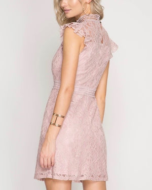 cherry on top - lace mock neck dress - misty pink