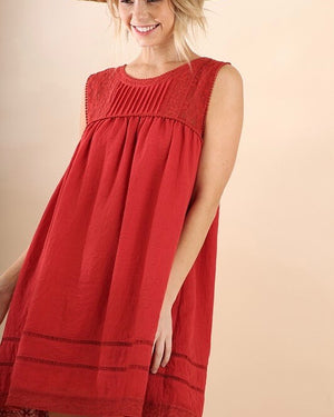 scarlet pleated dress