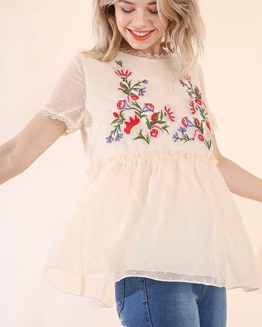 Without You Embroidered Lace Overlay Top - Cream