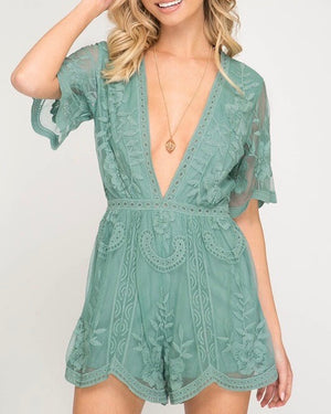 for what it's worth - lace romper - slate green