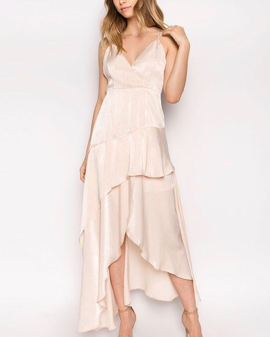 Olbia Asymmetric Maxi Dress in Washed Satin