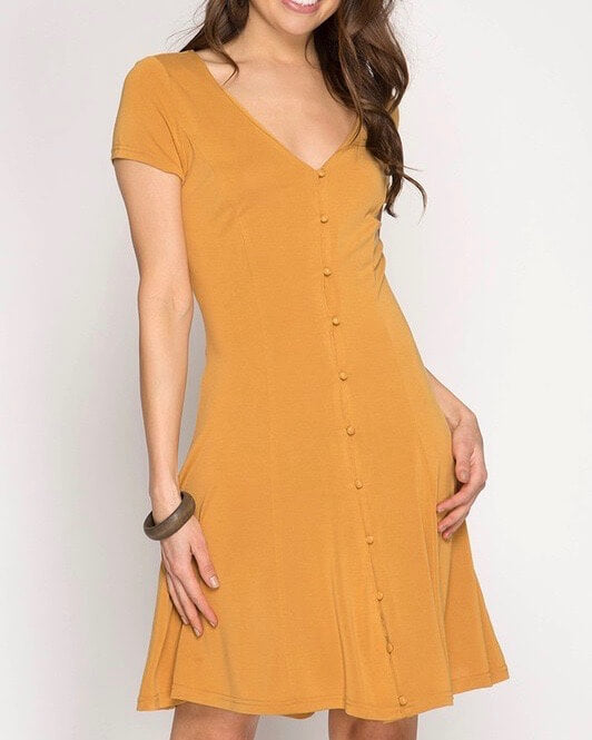 basic short sleeve v-neck button down modal cupro dress - more colors