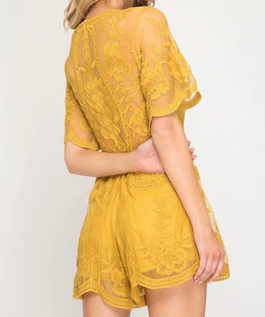 For What It's Worth Lace Romper in Mustard
