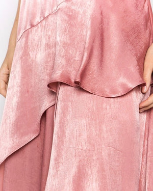 olbia asymmetric maxi dress - washed satin - mauve