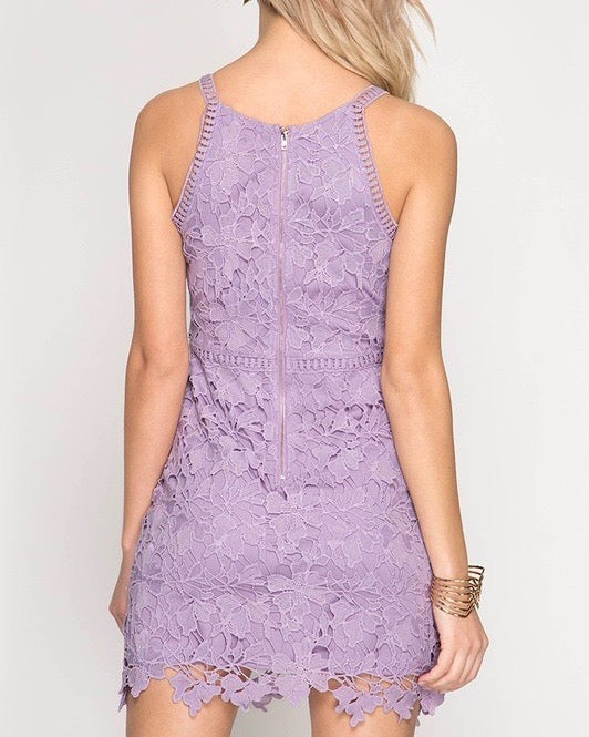 Ashlyn Sleeveless Lace Bodycon Dress in Lilac
