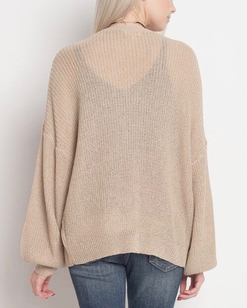 dreamers - lightweight open cardigan with balloon sleeves - taupe