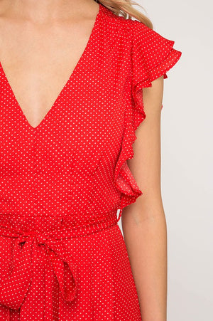 ruffled sleeve polka dot print romper with maxi skirt - red