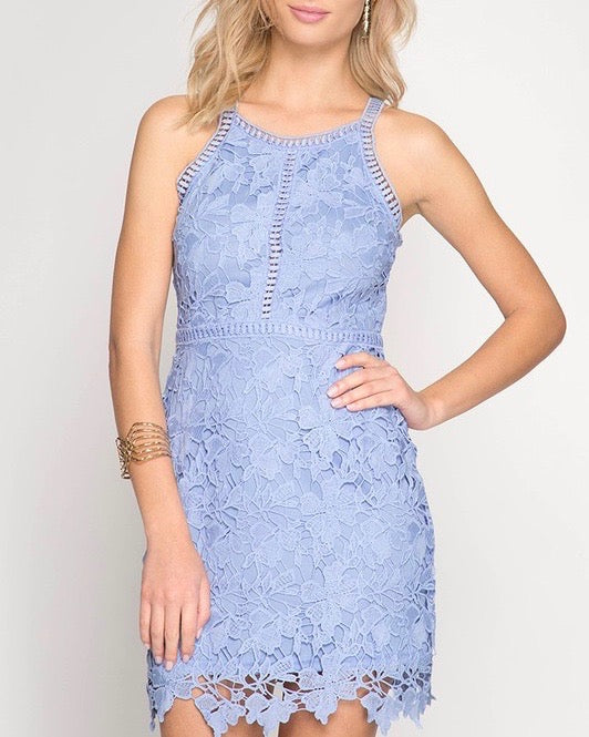 Ashlyn Sleeveless Lace Bodycon Dress in Ice Blue