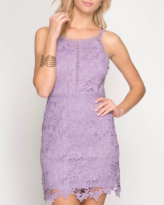 ashlyn - sleeveless lace bodycon dress - lilac