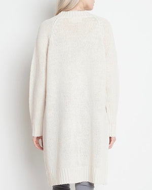 dreamers - longline open front cardigan - cream