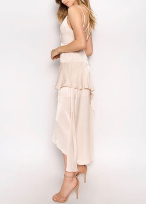 olbia asymmetric maxi dress - washed satin