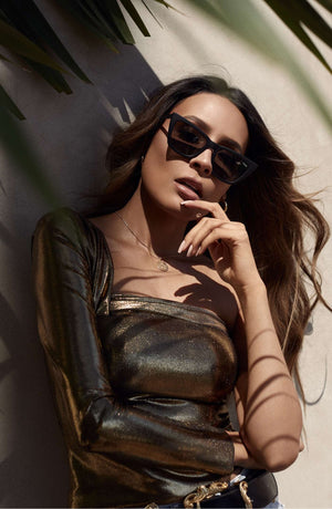 quay australia x desi perkins - don't @ me 48mm cat eye sunglasses - smoke black