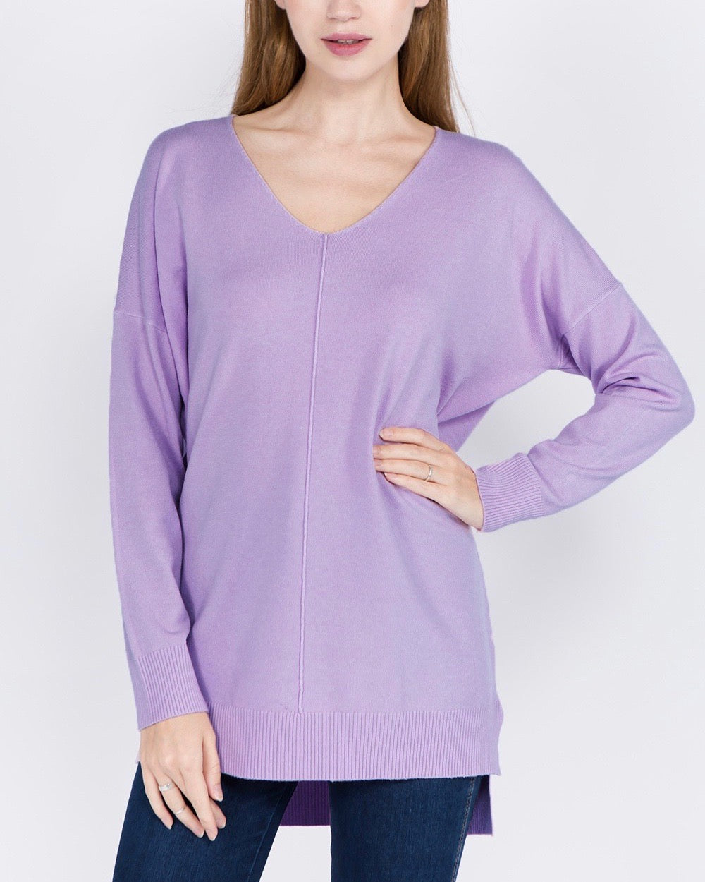Dreamers - Front Seam V-Neck Sweater in More Colors