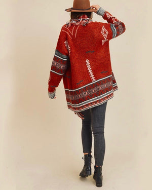 Bohemian Winter Fringe Detail Knit Retro Cardigan in Cinnamon