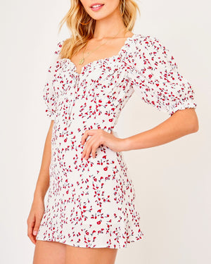 olivaceous - flower printed mini dress - white