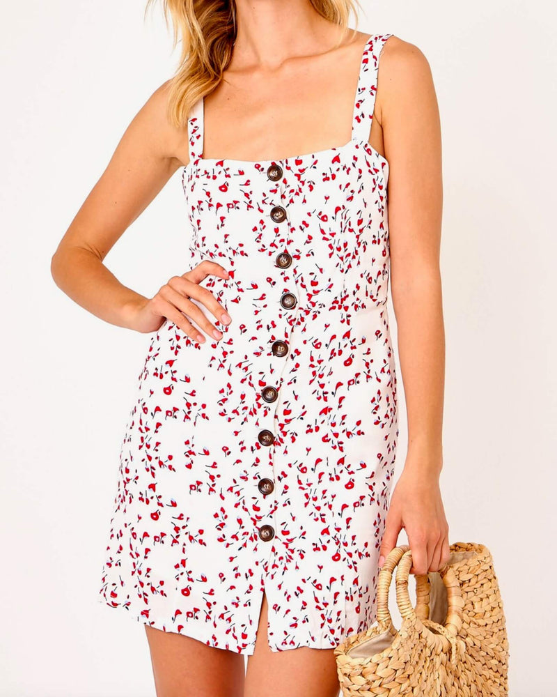 olivaceous - cherry tank dress - white