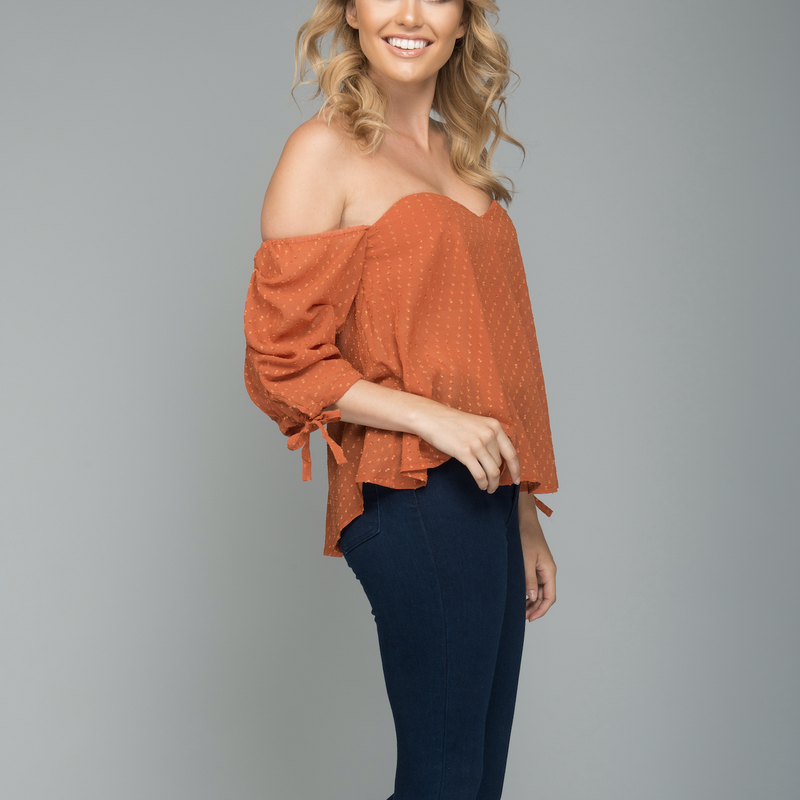 Strapless Off the Shoulder Textured Polka Dot Top in Rust